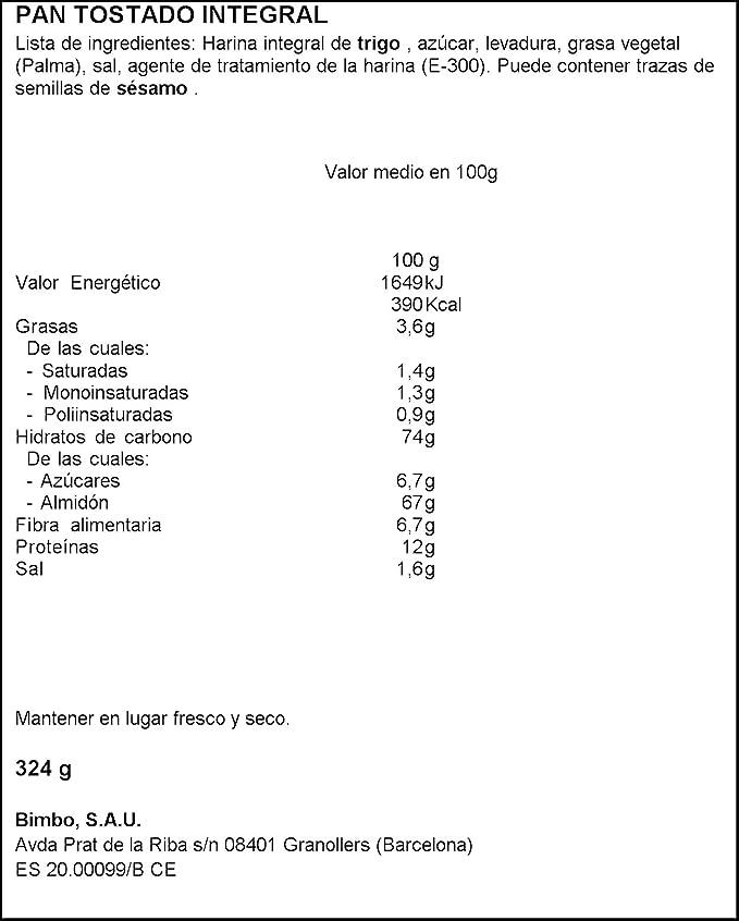 Silueta Pan Tostado Integral, Grano Completo - 324 g: Amazon.es: Amazon Pantry