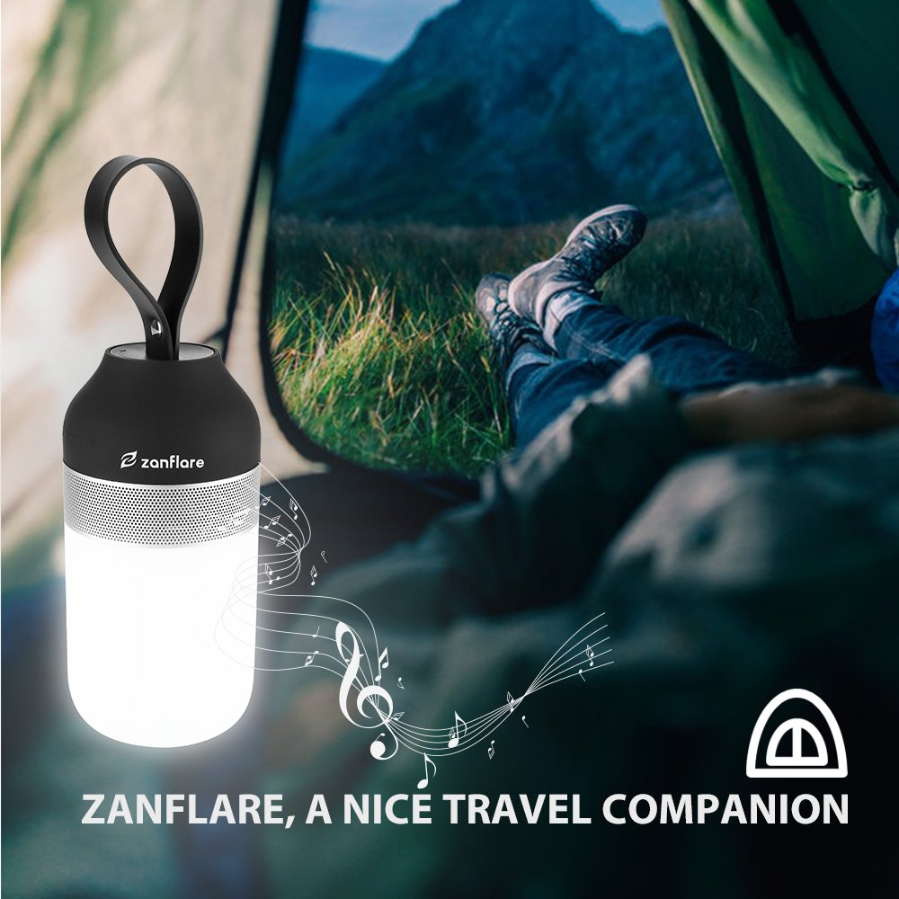 Zanflare LED Camping Lamp with Bluetooth Speaker Function, USB Rechargeable LED Tent Light, Waterproof Camping Lantern for Camping, Hiking, Mountaineering