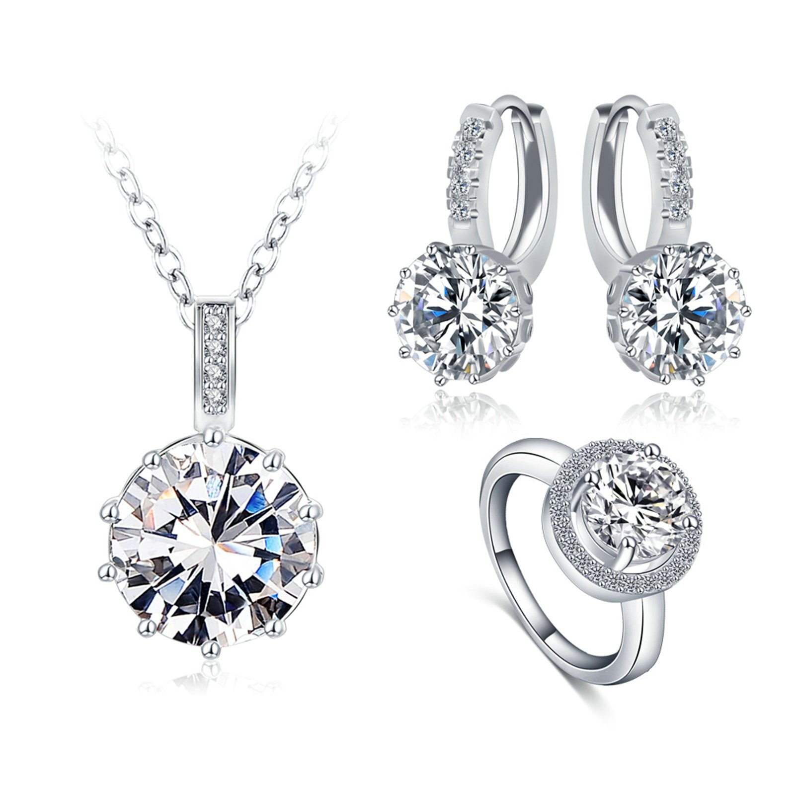 Cystal Jewelry Set for Women, ''Women's Day Gift'', Pendant Necklace Earrings Rings for Women Girl Size 6