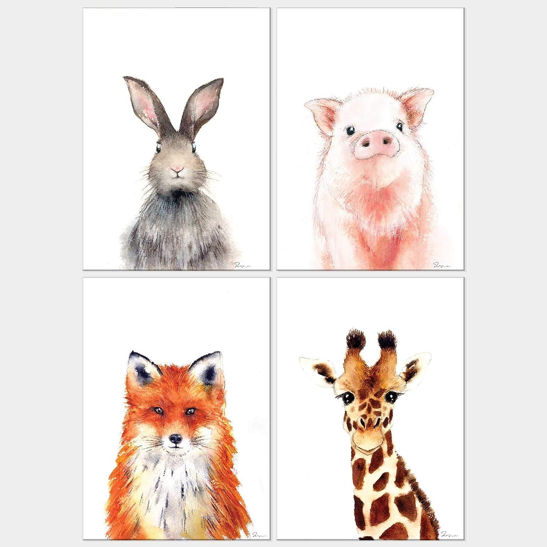 Woodland Animal Bunny Fox Giraffe Pig Watercolor Art Prints Set of 4 UNFRAMED Wall DecorFor Home Nursery or Baby Kids Room (ANIMAL-1, 5x7)