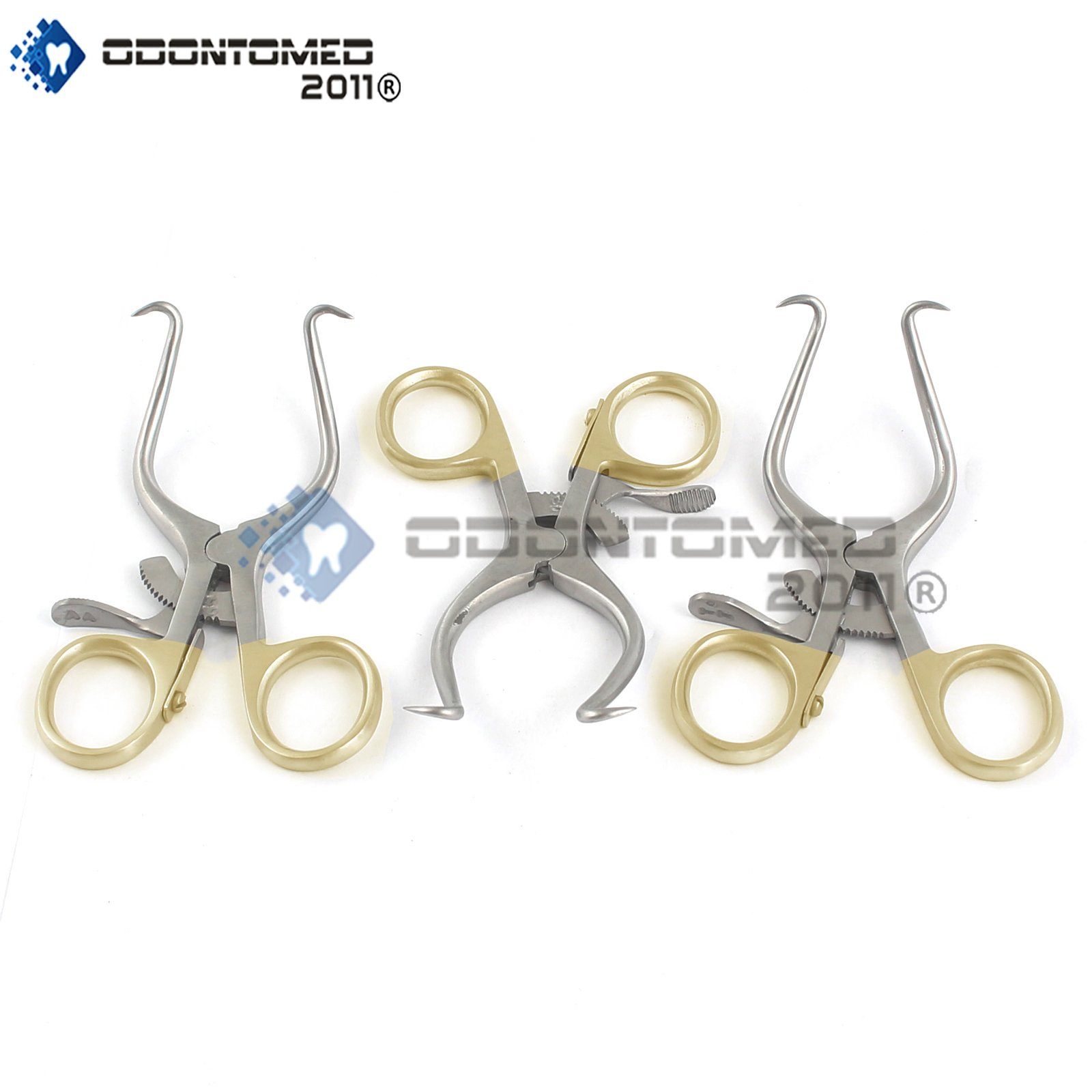 OdontoMed2011 NEW SET OF 3 O.R GRADE GELPI RETRACTOR 3.5'' WITH GOLD HANDLE ODM