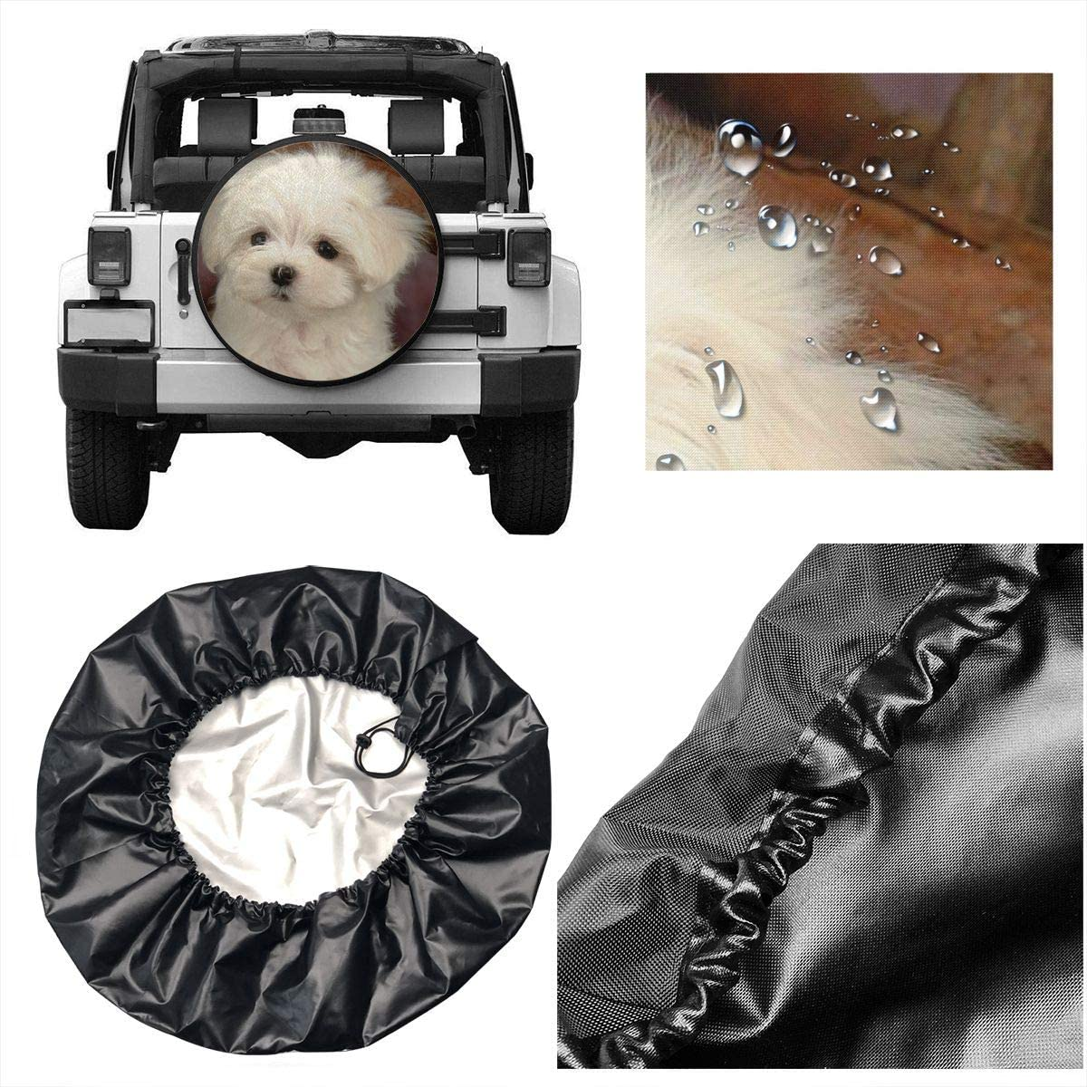 SUV and Various Vehicles 14 15 16 17 Inch RV Car Tire Cover Rainproof Protective Cover Maltese Dog Water Proof Universal Spare Wheel Tire Cover Fit for Trailer