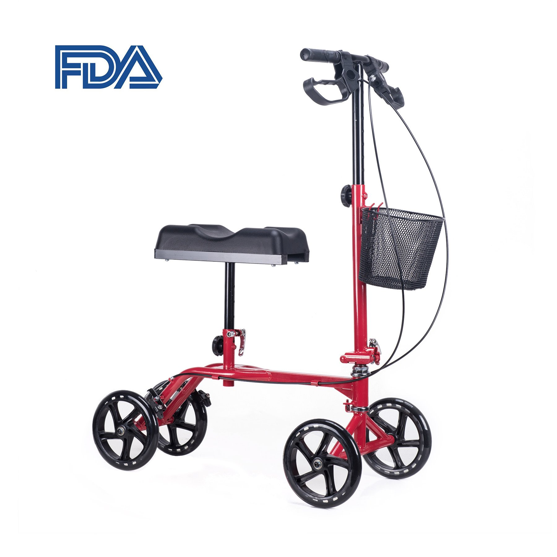 CO-Z Upgraded Dual Brake Steerable Knee Scooter with Ergonomic Cushion, Foldable Portable Knee Rover Walker for Adult Kids Foot Ankle Leg Injury, Red Adjustable 8'' Wheel Rolling Mobility Crutches