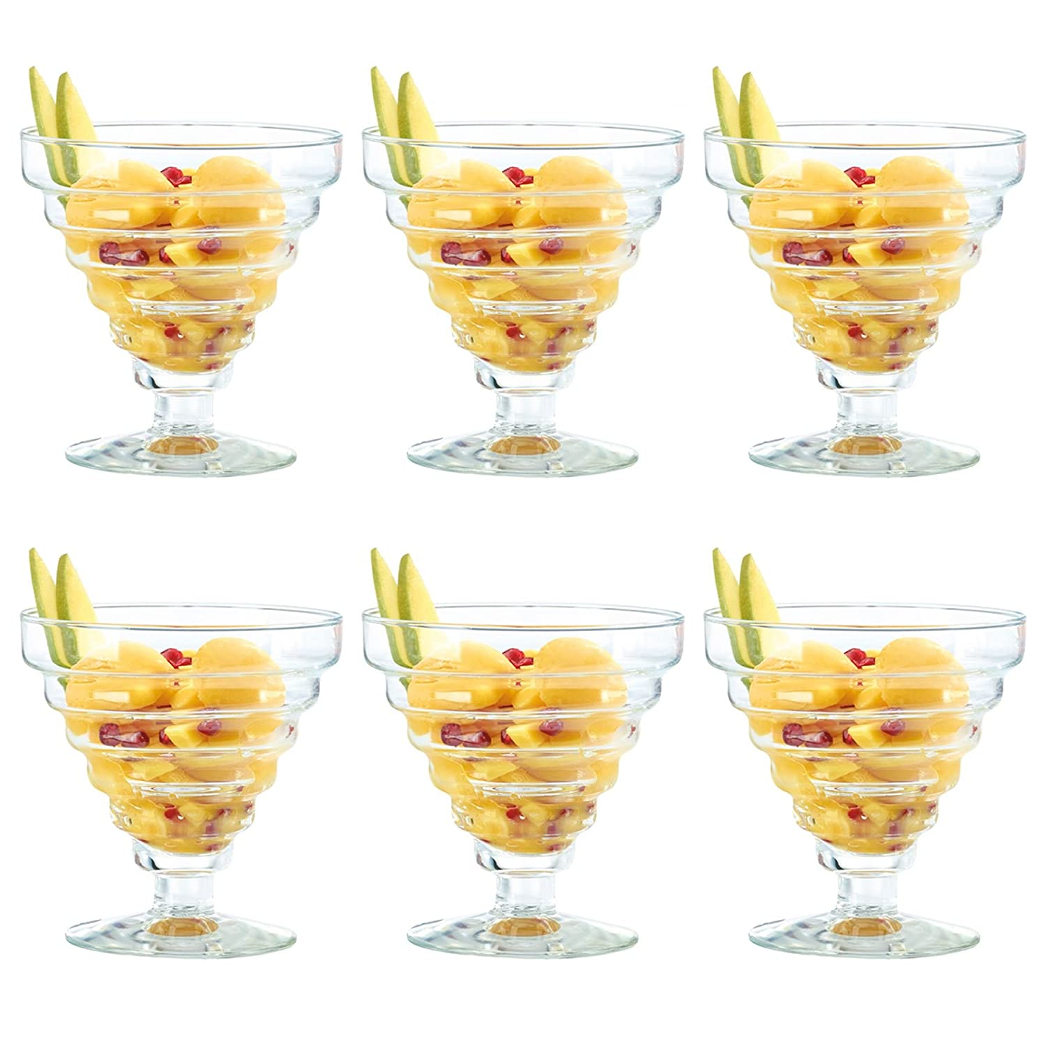 Durobor Etore Stemmed Sundae / Dessert / Ice Cream Glass Bowl - 360ml - Pack of 6 Glasses