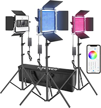 Neewer 660 RGB Led Light with APP Control 660 SMD LEDs CRI95//3200K-5600K//Brightness 0-100/%//0-360 Adjustable Colors//9 Applicable Scenes with LCD Screen//U Bracket//Barndoor Metal Shell for Photography