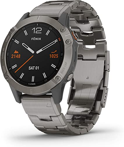 Garmin Fenix 6 Sapphire, Premium Multisport GPS Watch, features Mapping, Music, Grade-Adjusted Pace Guidance and Pulse Ox Sensors, Titanium