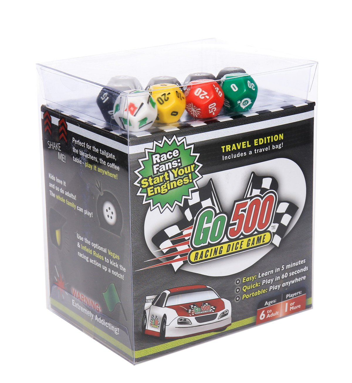 Zobmondo!! Go500 Car Racing Dice Game | Great for NASCAR Fans, Families, and Kids | Portable Fun Game for Home, Travel, Camping, Bleachers, Vacation, Beach