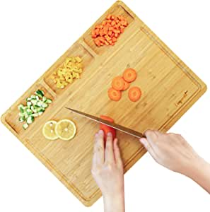 Organic Bamboo Cutting Board For Kitchen, with 3 Built-In Compartments and Juice Grooves, Wood Chopping Board For Meats Bread Fruits, Butcher Block, Kitchen Chopping Board