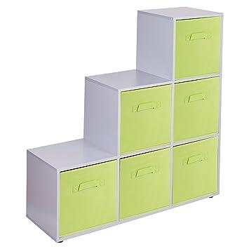URBNLIVING Estantería de 6 cubos en forma de escalera con 6 cajones, Green Drawers, Grey 6 Cubes