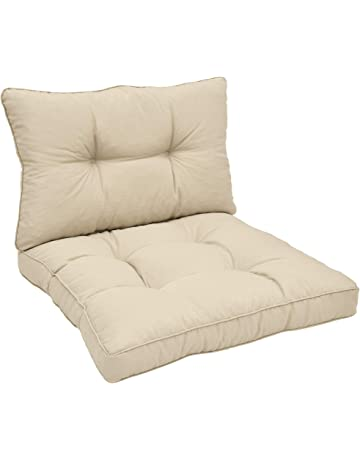 Beautissu Cojines para Muebles de jardín XLuna Lounge sillas de Mimbre de Exterior Asiento y Respaldo