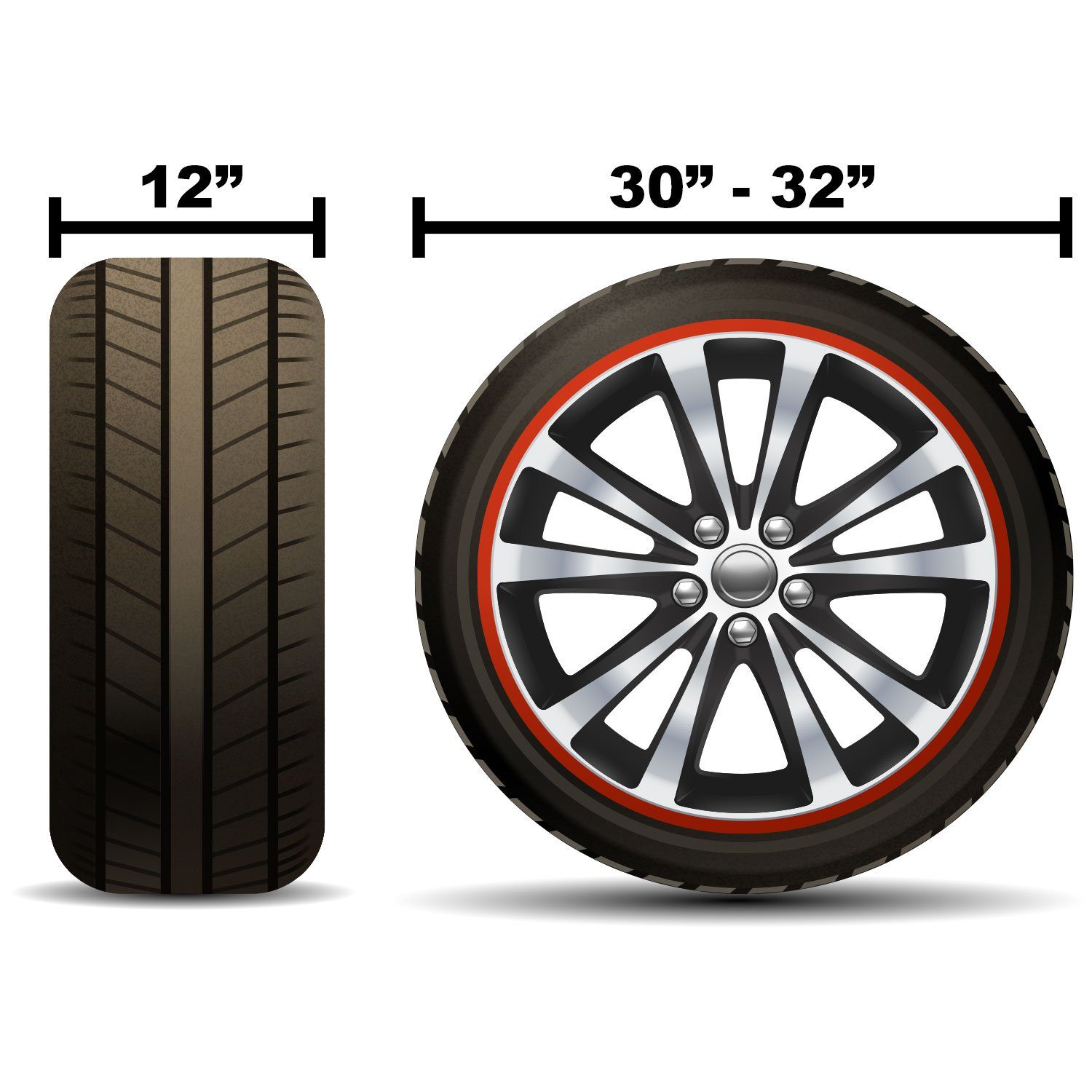 TCP Global Set of 4 - Oxford Waterproof Canvas Wheel Tire Covers, Fits from 30'' up to 32'' Diameter Tire Sizes by TCP Global (Image #3)