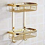 BAIANLE One/Two Layer Bathroom Shelf Rack Gold Brass Towel Washing Shower Basket Bar Shelf /Bathroom Accessories (Golden Double)