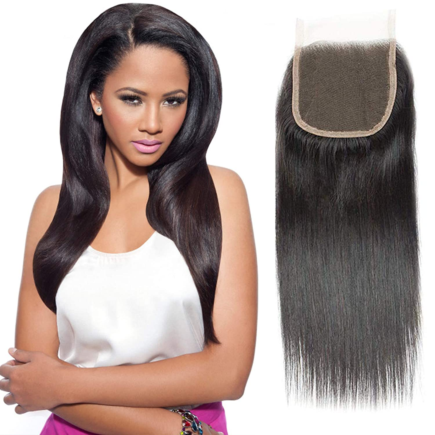 """Selina 14 Inch Straight Closure 4x4 Free part Unprocessed Brazilian Virgin Human Hair Extensions Natural Black Color Can Be Dyed (14""""Staright, Free part)"""