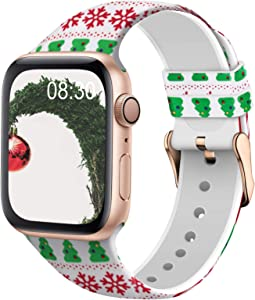 TSAAGAN Silicone Pattern Printed Band Compatible for Apple Watch Band 38mm 42mm 40mm 44mm, Floral Soft Sport Replacement Strap Wristband for iWatch Series 6/5/4/3/2/1 (Christmas, 38mm/40mm)