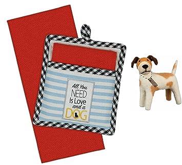 Amazon Com Dog Embellished Kitchen Potholder And Dish Towel Gift
