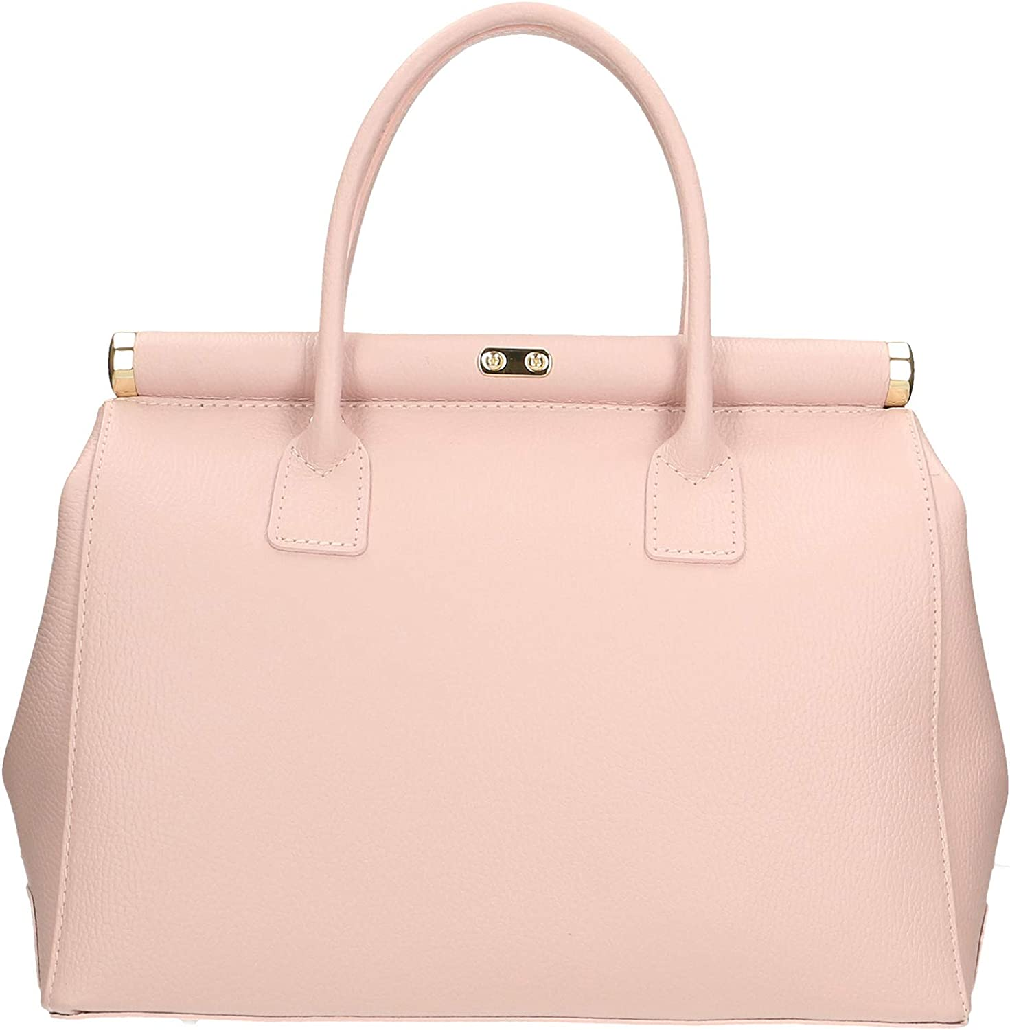 Chicca Borse Bag Borsa a Mano in Pelle Made in Italy 35x28x16 cm Rosa