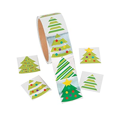 FOIL CHRISTMAS TREE ROLL STICKERS - Stationery - 100 Pieces: Home & Kitchen