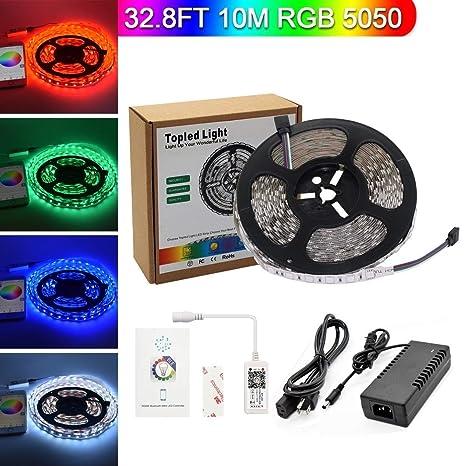 Topled Light Bluetooth LED Strip Light, 32.8ft/10m Flexible RGB Strip Light Kit