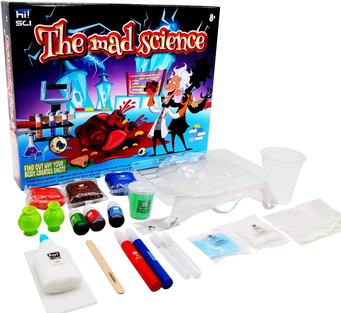 hi!SCI Disgusting Science Kit for Kids Hours of Fun Toy Gifts The Mad Scientist Gross Science Lab Activity//Experiment Set w// 34 Tools