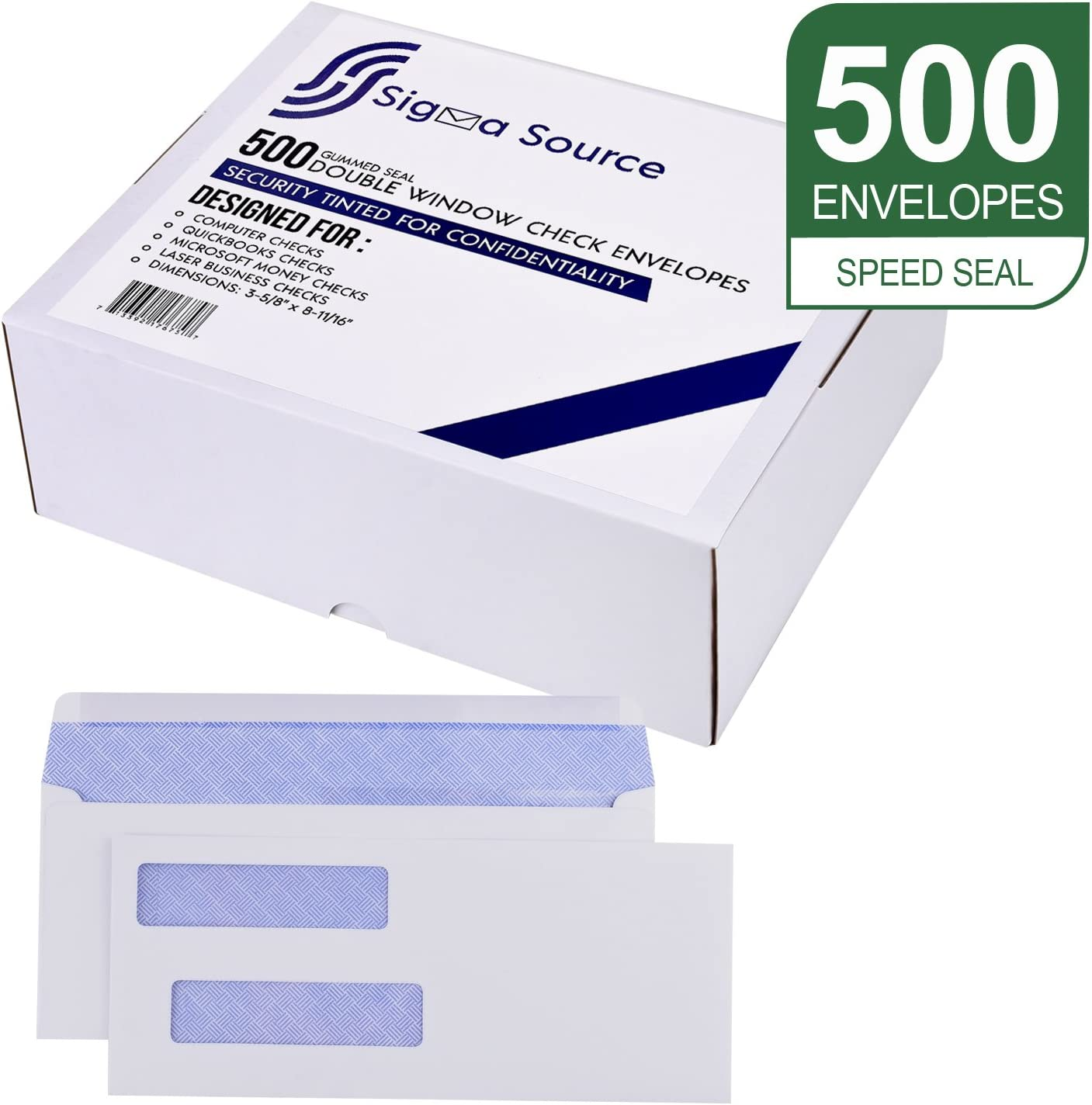 #9 Ready-Seal Double Window Security Check Envelopes Box of 100 Compatible with QuickBooks Software and Other Checks