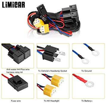 LIMICAR H4 9003 Relay Wiring Harness H6054 H4 Socket Plugs H4 Headlamp on