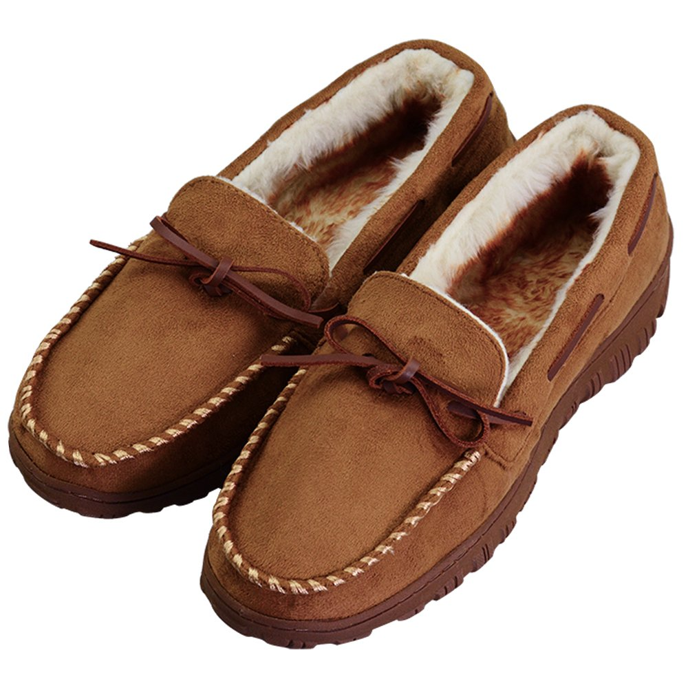 Men's Casual Plush Lined Microsuede Indoor Outdoor Slip On Moccasin Slippers Size 11 Brown (FBA) by VLLY