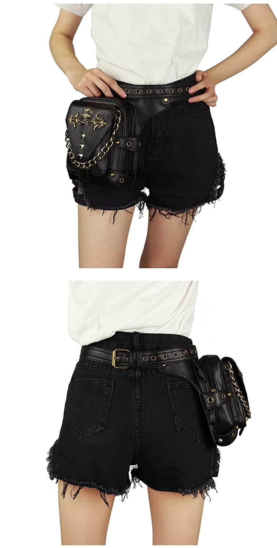 Victorian Skull Waist Bags Women PU Leather Shoulder Bags Gothic Retro Zipper Waist Packs