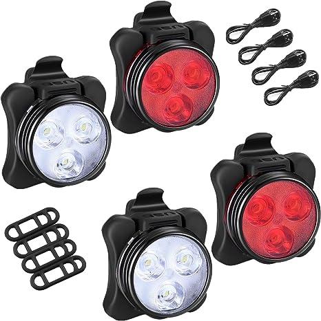 Juego de luces para bicicleta, 2 pares USB recargable, luz ...