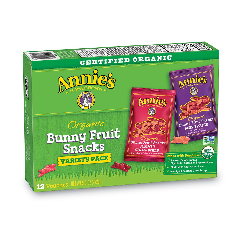 Annie's Organic Bunny Fruit Snacks, Variety Pack, 12 Pouches, 9.6 oz Box