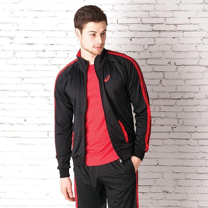 Veste zippe AsicsEssentials pour homme en noir et rouge
