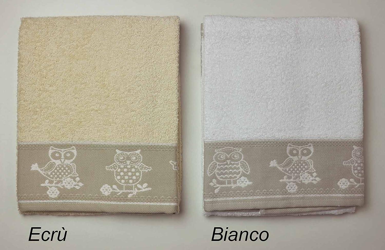 Bianco CASA TESSILE Gufi Coppia di Asciugamani in Spugna Cotone