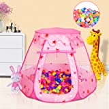 Baby Ball Pit for Toddler with 50 Balls, Kids Pop Up Play Tent for Girls, Princess Toys for Children Indoor & Outdoor Playhou