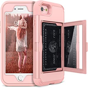 iPhone 7/8/SE 2020 Wallet Case - WeLoveCase Defender Wallet Design with Hidden Back Mirror and Card Holder Heavy Duty Protection Shockproof 3 in 1 All-Round Armor Case for iPhone 7 8 - Rose Gold