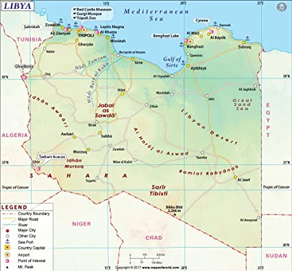 Amazon Com Libya Map 36 W X 44 47 H Office Products