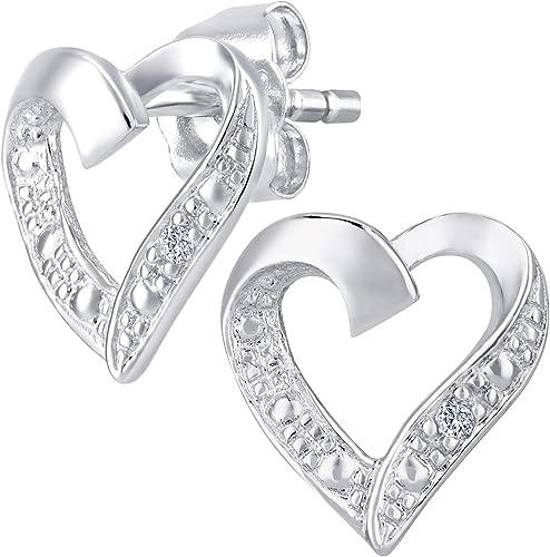 Naava Women's 9ct Yellow Gold Heart Stud Earrings Partially Rhodium Plated Diamond 0.01 Carat White Round Cut