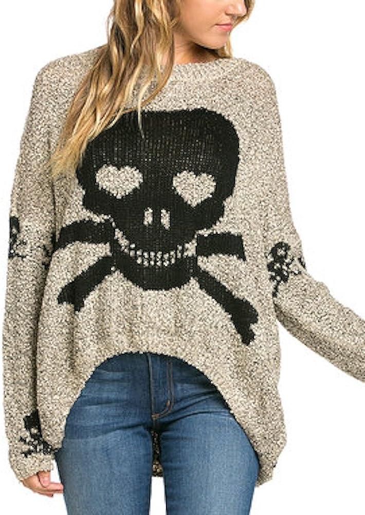 Womens Skull Shark Bite Hem Trendy Pull Over Sweaters