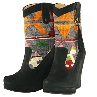 Wedged Black Western Cowboy Boots Saxon (Purple; Red; Green;Beige)