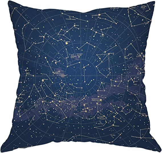Amazon Com Moslion Star Map Throw Pillow Cover City Light Constellation In Night Sky Cotton Linen Decorative Pillow Case 18 X 18 Inch Standard Square Cushion Cover For Sofa Bedroom Men Women Home