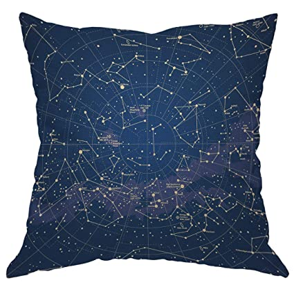 Moslion Star Map Throw Pillow Cover City Light Constellation in Night Sky  Cotton Linen Decorative Pillow 5b1b54c0e