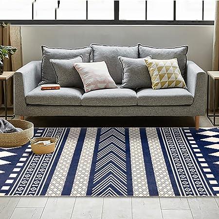 Cqq tapis Tapis de salon simple de style nordique Table de café géométrique  en noir et blanc moderne Chambre Tapis de tapis de chevet (Couleur : B, ...
