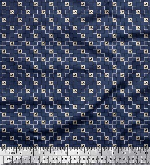 Soimoi Azul seda Tela cuadrada y aves tela de camisa tela estampada de costura de tela 42 Pulgadas de ancho: Amazon.es: Hogar
