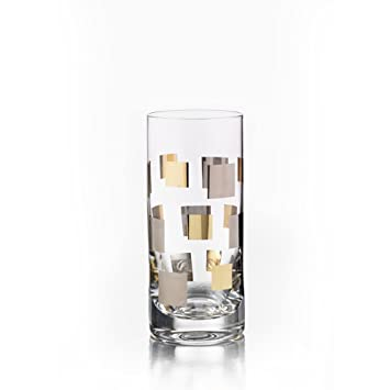 El Jay empresas cuadrados oro/platino highballs (Set de 4), transparente: Amazon.es: Hogar