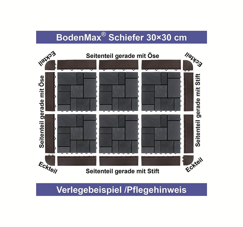 BodenMax Zement Mosaik Click Bodenfliesen Set 30 x 30 cm Terrassenfliesen Terrassenplatte Fliese Schwarz wei/ß Klickfliesen Abschlussleisten Weiblich 14 St/ück