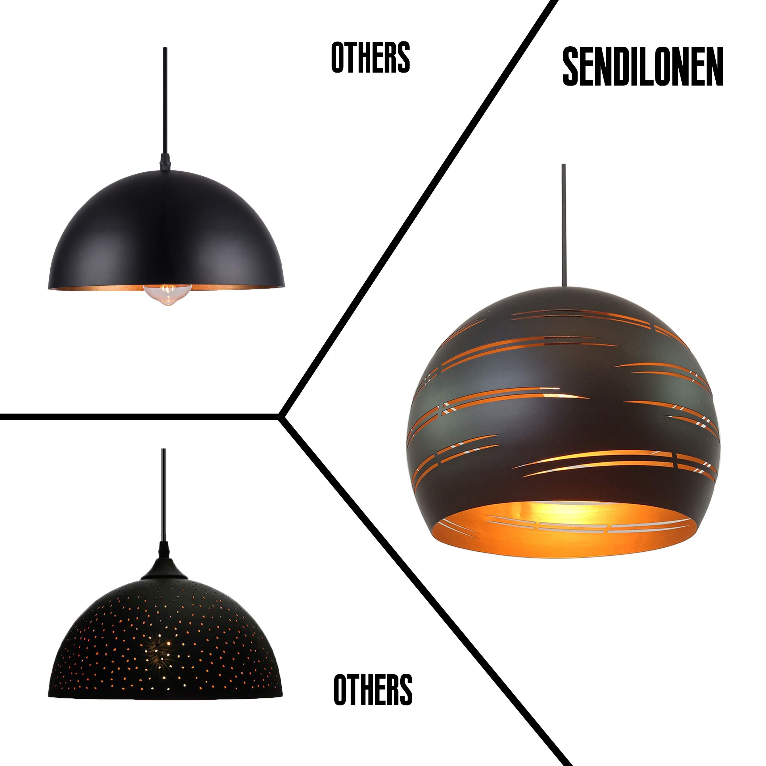 1 Light Pendant Lighting, Adjustable Industrial Metal Pendant Light, Hollow Shade Design, Vintage Hanging Lamp, Matte Black Ceiling Light for Kitchen Island, Included 1 Bulb, SENDILONEN by SENDILONEN (Image #4)