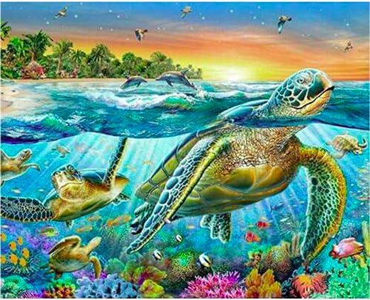 Diy completo 5D Pintura de diamante Tortuga de mar Punto de cruz ...