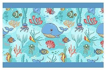 I-love-Wandtattoo Kinderzimmer Bordüre Borte Unterwasserwelt Delfin  selbstklebend