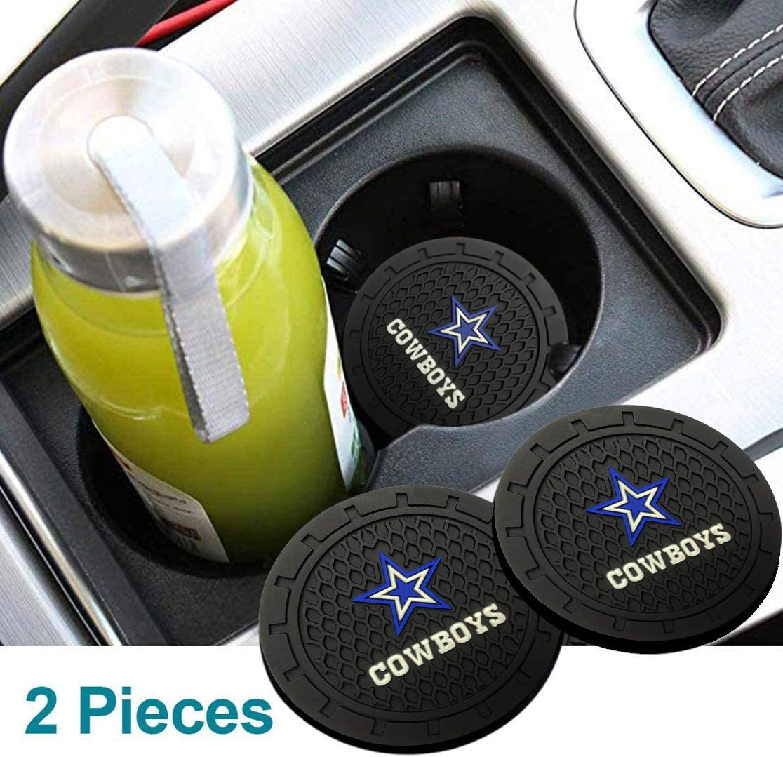 2pcs Auto Cup Holder Coasters with Las Vegas Raiders Logo,2.75-Inch Diameter Car Interior Accessories Durable Non Slip Silicone Logo Cup Mat for All Vehicles. for Oakland Raiders