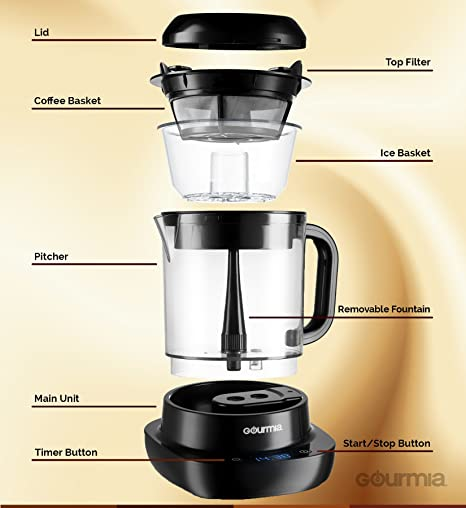 4 Cups 4 Strength Selector One Touch Digital Black TRTAZ11A 5W Gourmia GCM6800 Automatic Cold Brew Coffee Maker Patented Ice Chill Cycle 10 Minutes Fast Brew