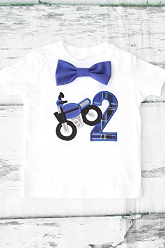 fe84f3ec Amazon.com: Boy Second Birthday shirt Dirt Bike themed Personalized second  birthday shirt two year old Motorcycle Blue plaid: Handmade