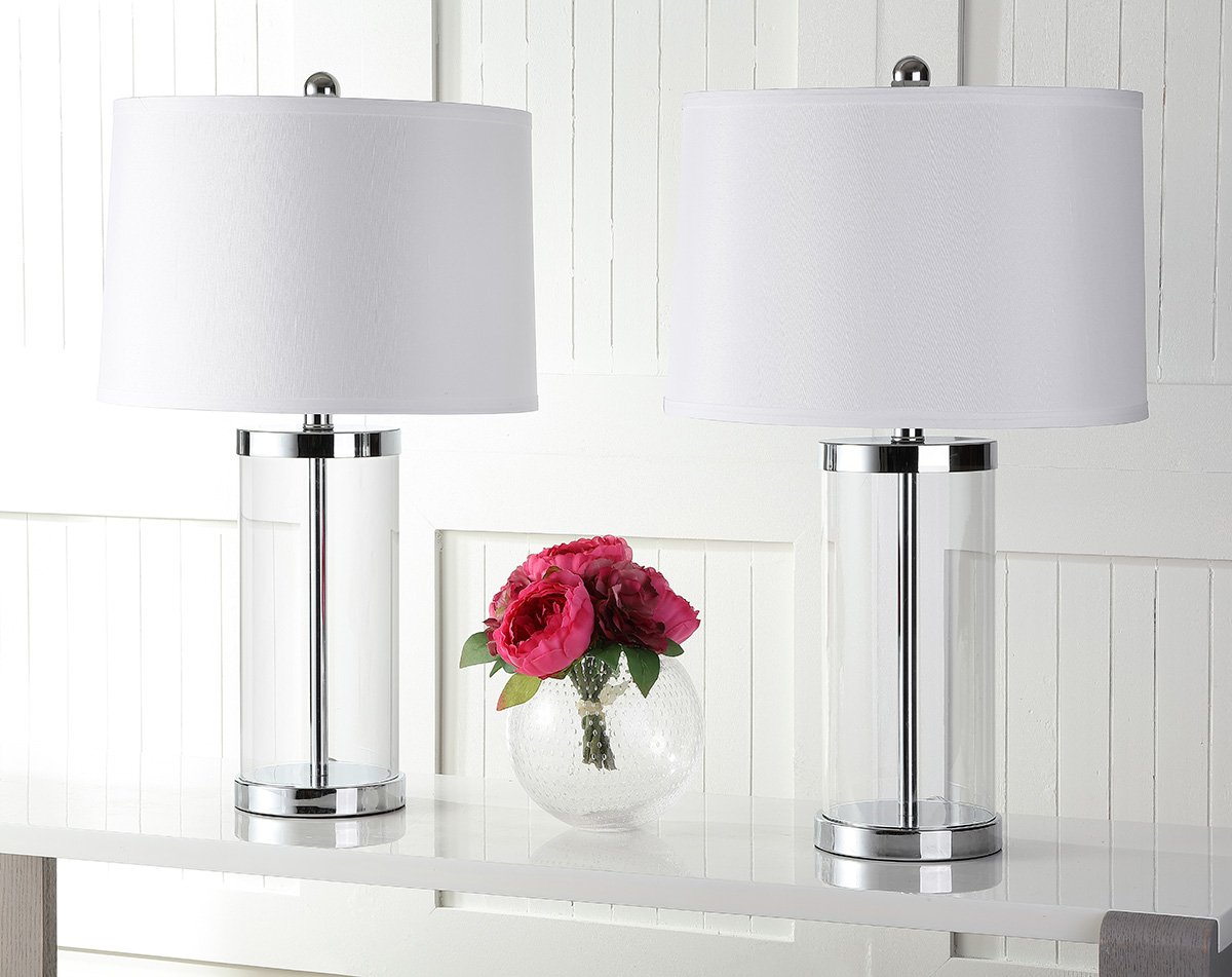 Safavieh Lighting Collection Jeanie Glass Cylinder 25.5-inch Table Lamp (Set of 2)
